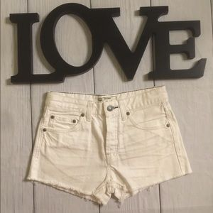 Free People Size 24 White Cut Off Jean Shorts